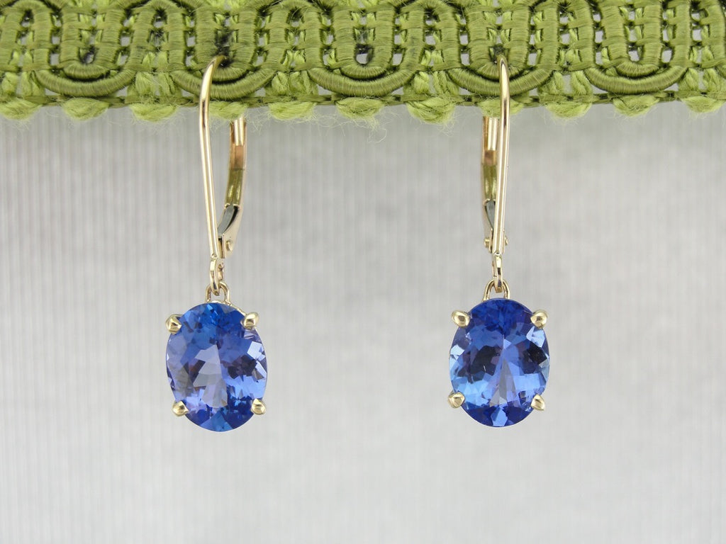 Blue Tanzanite Drop Earrings, Perfect Bridal Gift, Heirloom Quality Stones
