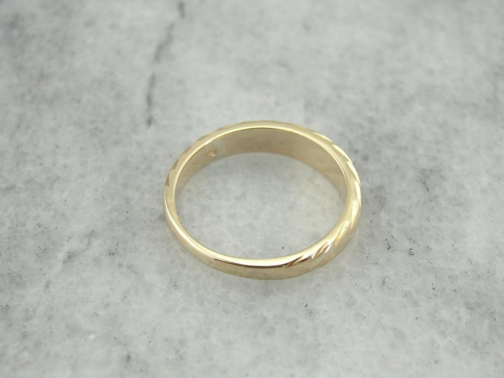 Domed and Faceted Vintage Gold Accent Ring or Band