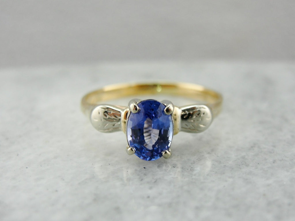 Elegant Vintage Tanzanite Solitaire Gold Ring, Two Tone Retro Era Ring with Fine Tanzanite