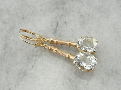 Bamboo Under Ice: White Topaz Drop Earrings with Antique Accents
