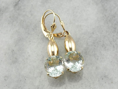 Most Pale Green: Aquamarine Drop Earrings