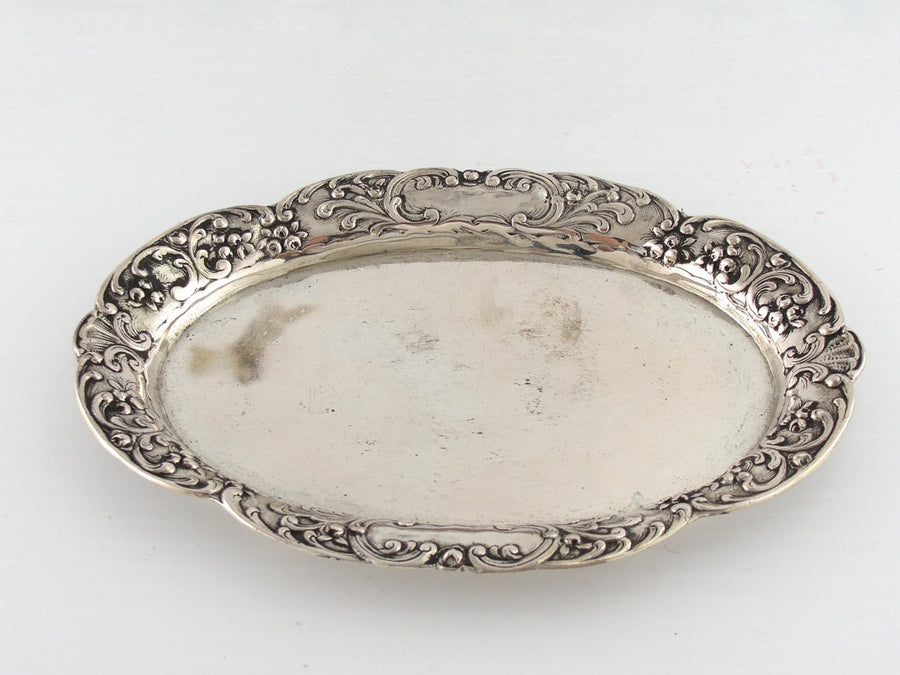 Coin Silver Serving Plate with Rose Border