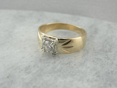 Vintage Wide Diamond Engagement Ring Band