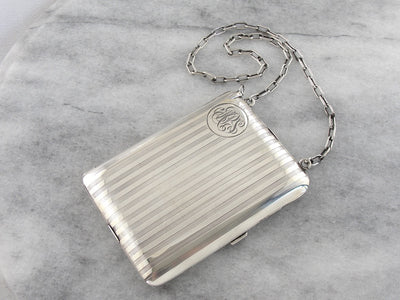 Sterling Silver MPS Monogrammed Art Deco Compact Purse