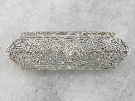 Edwardian Diamond Filigree Bridal Brooch in White Gold with Tiny Diamond Center, Perfect Bridal Gift