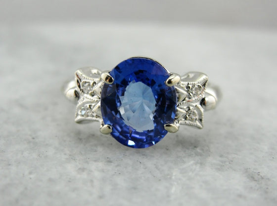 1950's Vintage Tanzanite and Diamond Ring