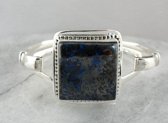 Azurite Gemstone Bracelet in Sterling Silver, Gleaming Hematite Sheen to Unusual Blue Stone