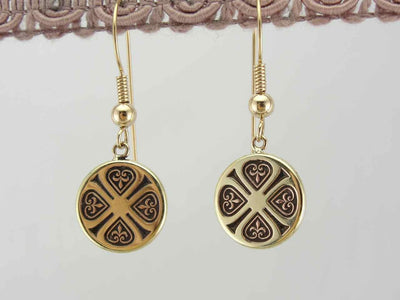 Vintage Fleur De Lis Drop Earrings in Yellow Gold