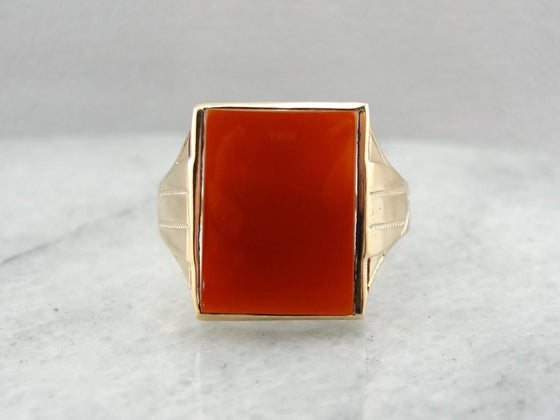 Blood Orange Men's Carnelian Right Hand Ring