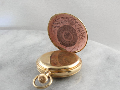 Floral Engraved Solid Gold Hunters Case Elgin Pocket Watch, Circa 1889