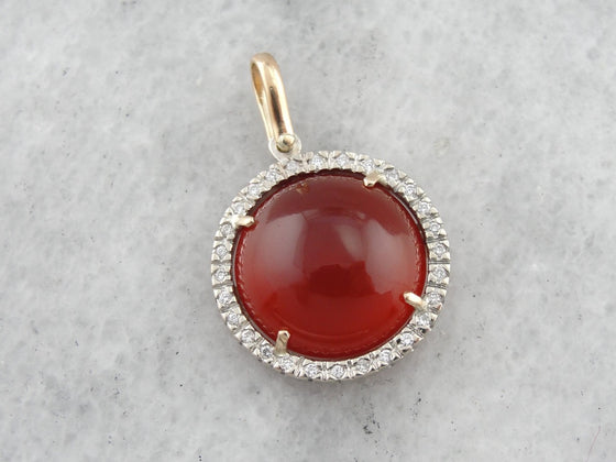 Carnelian and Diamond Halo Pendant, White and Yellow Gold