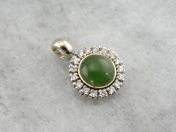 Vintage Jade and Diamond Halo Pendant, Good Luck Charm