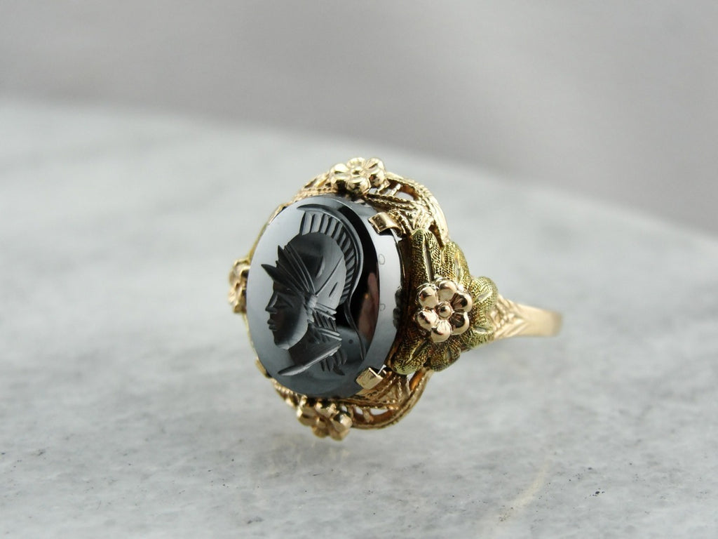 Intaglio Hematite Retro Yellow Gold Filigree Ring, Rose and Green Gold Floral Accents