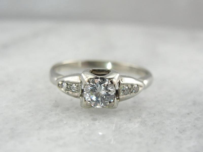 Vintage White Gold and Diamond Enagement Ring