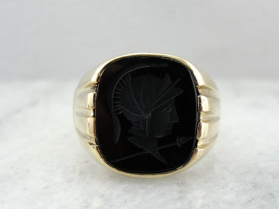 Men's Vintage Onyx Intaglio Ring in Yellow Gold