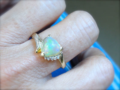 Trillion Cut, Beautiful Opal Cocktail Ring with Diamond Accents