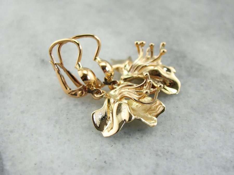 14K Gold Floral Drop Earrings, Gold Floral Earrings