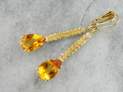18K Gold Citrine Drop Earrings with Leafy Accents, Long Pear Cut Citrine Earrings