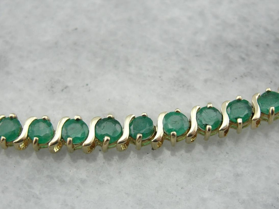 Beautiful Emerald Tennis Bracelet, Bright Green and Gold Hues