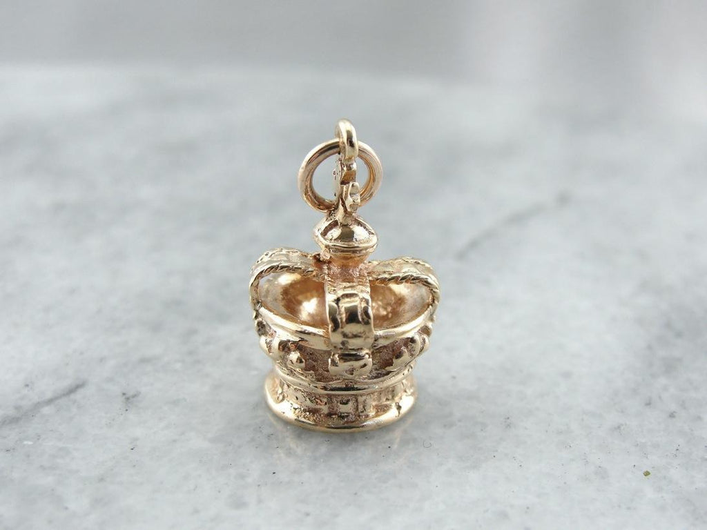 A Charmed Life, Vintage Gold Crown Charm or Pendant