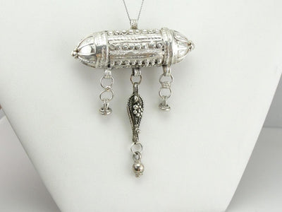 Vintage Silver Pendant from India: Prayer Chest