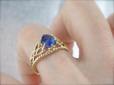Tanzanite Anniversary Ring in Yellow Gold Setting