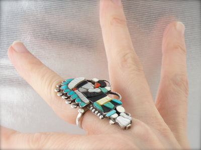 Zuni Native American Intarsia Knifewing Dancer Statement Ring by Linette Laiwakete