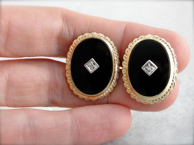 Vintage Onyx and Diamond Cufflinks with Rope Edge in Fine Gold