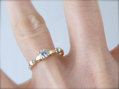 Diamond Solitaire with Heart Details, Lovely Vintage Engagement