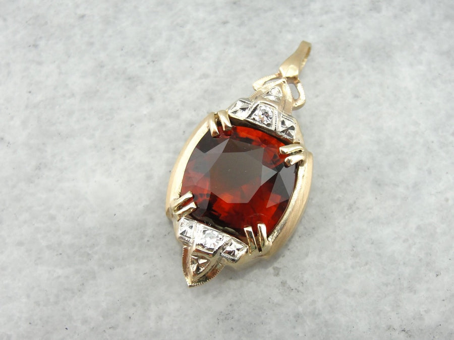 Vintage Hessonite Garnet and Diamond Pendant