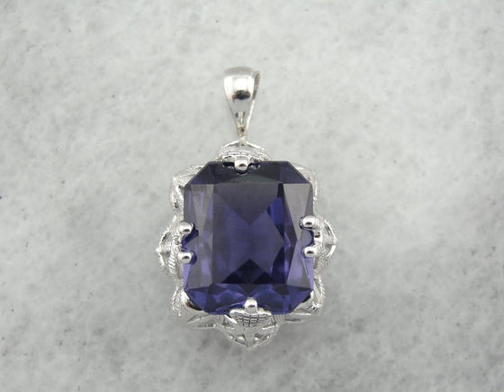 Color Change Florentia Pendant, Synthetic Alexandrite Pendant from The Elizabeth Henry Collection
