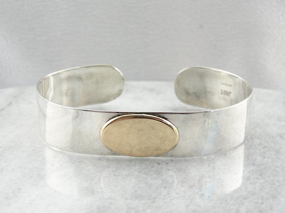 Sterling and Gold Cuff Bracelet to Engrave