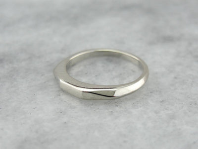 Sleek White Gold Band for Wedding or Stacking, Flashing Faceted Finish!