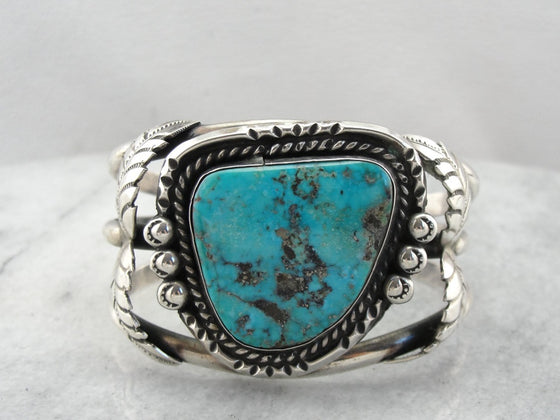 Native American Large Turquoise Cuff Bracelet, Gorgeous Vintage Cuff!