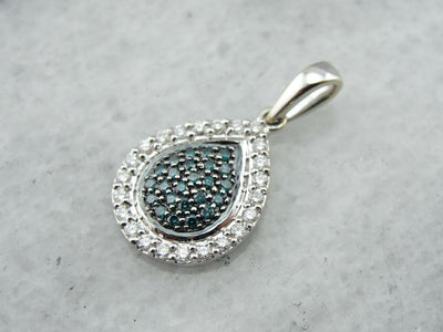 Sparkling Blue and White Diamond Teardrop Pendant