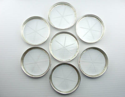 Vintage Etched Glass, Set of Seven Sterling Silver Coasters