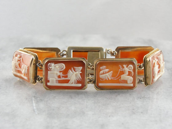 Chariots of the Greek Gods and Goddesses, 14K Gold Vintage Cameo Link Bracelet