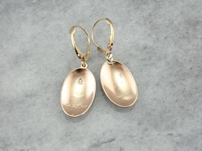 Minimalist Polished Yellow Gold Drop Earrings, Warm Antique Gold Color