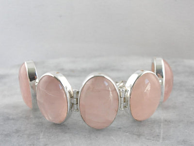 Lovely Pink Rose Quartz Large Gemstone Bracelet