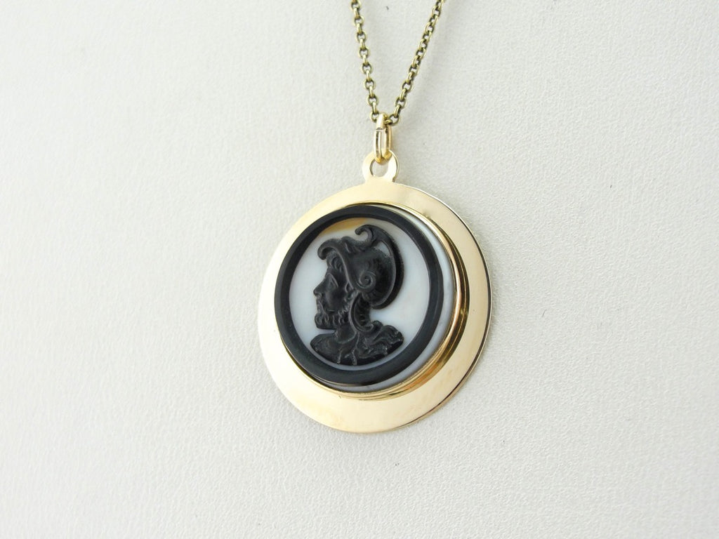 Black and White Soldier Head Cameo Pendant
