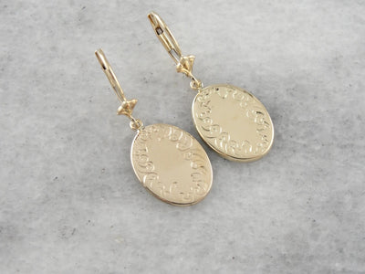 Yellow Gold Drop Earrings with Simple, Engraved Border