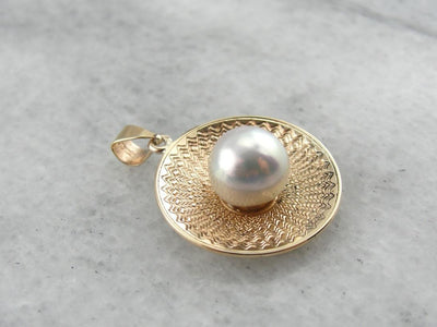 Mid century Vintage, Gold and White Pearl Pendant