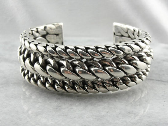 Hefty Solid Sterling Silver Cuff Bracelet for Bikers or Babes