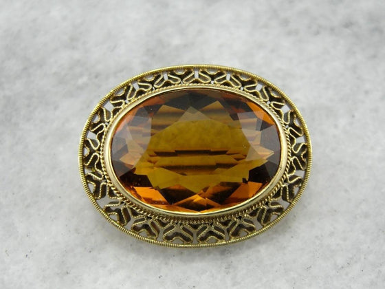 Refined in Citrine and Gold: Antique Gold Ladies Brooch