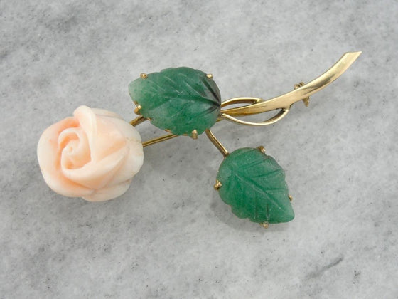 A Rose of Angels Skin: Vintage Coral and Aventurine Brooch in Gold  HURFMA