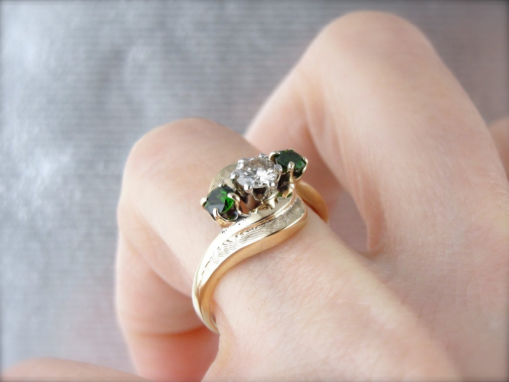 Champagne Diamond and Demantoid Garnet Textured Bypass Three Stone Ring