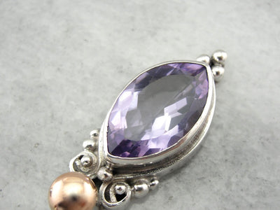 Mixed Metal Amethyst Pendant, One of a Kind Pendant