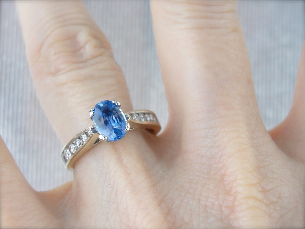 Contemporary Sapphire and Diamond Engagement Ring in White Gold
