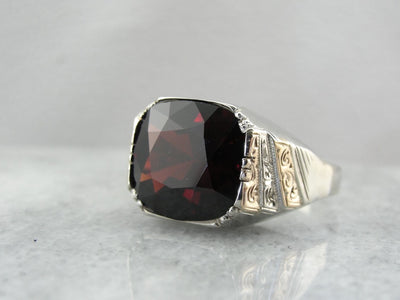 Men's 15 Carat Garnet Statement Ring, Bold Antique Ring for Him or Her