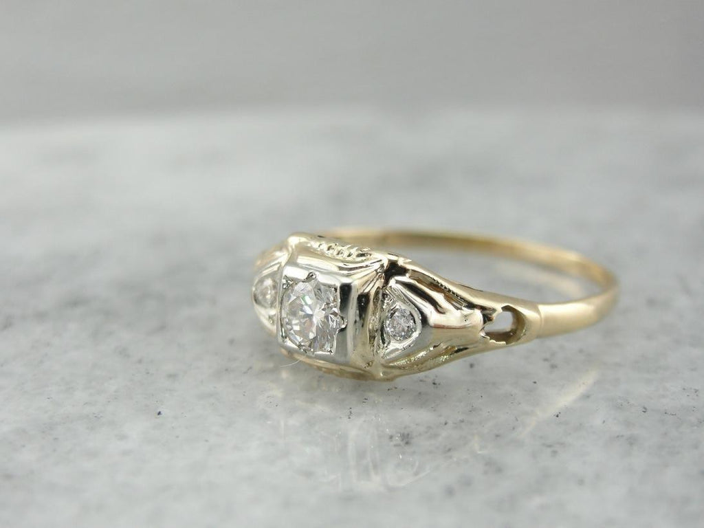 Retro Era Diamond Engagement Ring, Circa 1930s